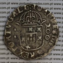 Meio Cruzado prata D. João IV 1640-1656, coroa de arcos perolados, Legenda ✣IOANNES IIII DG REX PORTVGALI / ✣IN HOC.SIGNO.VINCES
