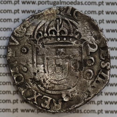 Meio Cruzado prata D. João IV 1640-1656, Cruz cercada, Legenda ✣IOANNES IIII DG REX PORTVGALIE / ✣IN HOC.SIGNO.VIN.CES
