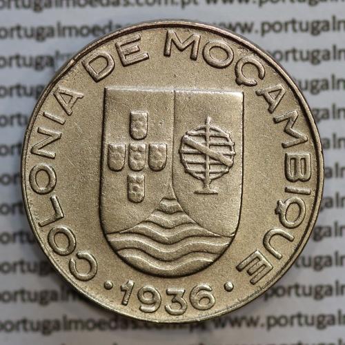 Moçambique, 1 escudo 1936 Cuproníquel, (1$00 escudo Cupro-Níquel 1936), (MBC+/Bela) Ex-Colónia, World Coins Mozambique KM 66