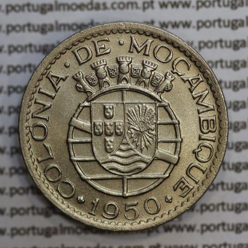 """Moçambique 1 Escudo 1950 alpaca, """"1$00"""" escudo alpaca1950, (Bela) Ex-Colónia Moçambique, World Coins Mozambique KM 77"""