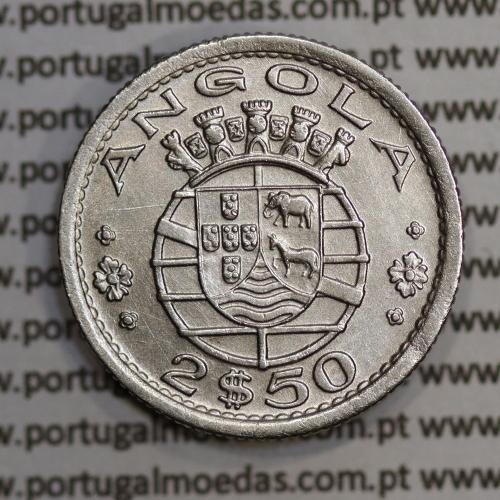 Angola 2$50 1953 cuproníquel, (2 escudos e 50 centavos 1953), 2 1/2 Escudos 1953 Copper-Níquel World Coins Angola KM 77