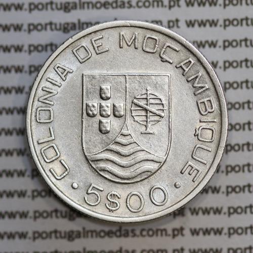 Moçambique 5$00 1935 Prata, (cinco escudos em prata de 1935), (MBC+), World Coins Mozambique KM 62