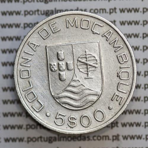 Moçambique 5$00 1935 Prata, (cinco escudos em prata de 1935), (MBC), World Coins Mozambique KM 62