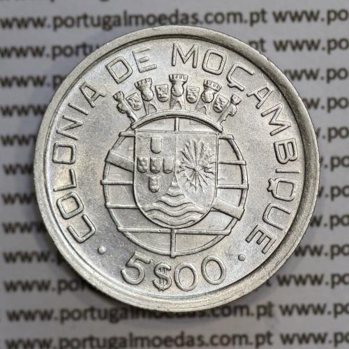 Moçambique 5$00 1938 Prata, (cinco escudos em prata de 1938), (MBC+), World Coins Mozambique KM 69
