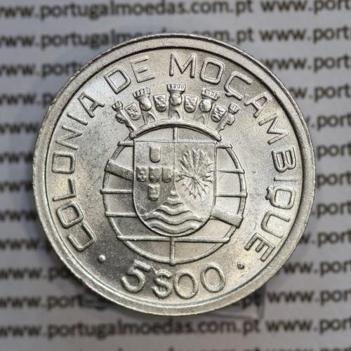 Moçambique 5$00 1949 Prata, (cinco escudos em prata de 1949), (Bela/soberba), World Coins Mozambique KM 69