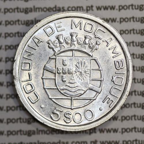 Moçambique 5$00 1949 Prata, (cinco escudos em prata de 1949), (MBC+/Bela-), World Coins Mozambique KM 69