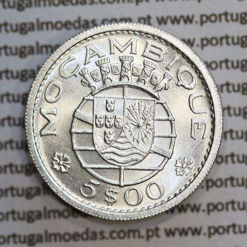 Moçambique 5$00 1960 Prata, (cinco escudos em prata de 1960), (Soberba), World Coins Mozambique KM 84