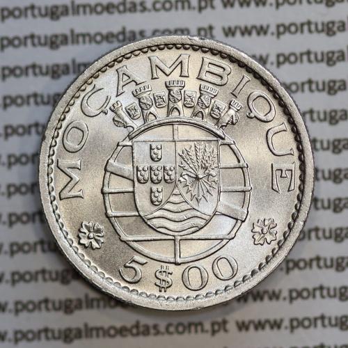 """Moçambique 5$00 1971 cuproníquel, """"cinco escudos 1971 """" (Soberba), 5 Escudos 1973 World Coins Mozambique KM 86"""