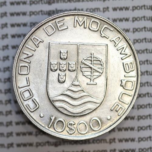 Moçambique 10$00 1936 Prata, (dez escudos em prata de 1936), (MBC+/Bela-), World Coins Mozambique KM 67