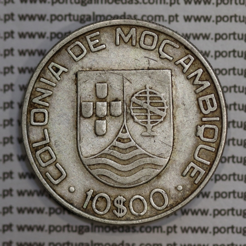 Moçambique 10$00 1936 Prata, (dez escudos em prata de 1936), (MBC), World Coins Mozambique KM 67