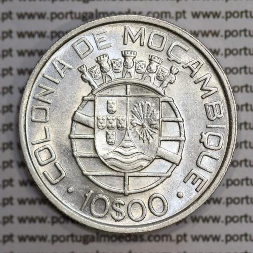 Moçambique 10$00 1938 Prata, (dez escudos em prata de 1938), (Bela/Sob), World Coins Mozambique KM 70