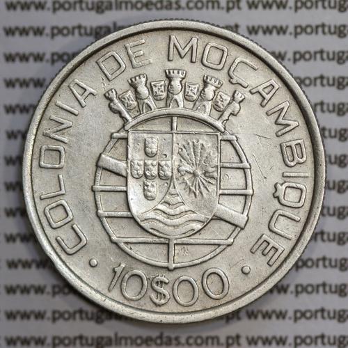 Moçambique 10$00 1938 Prata, (dez escudos em prata de 1938), (MBC), World Coins Mozambique KM 70