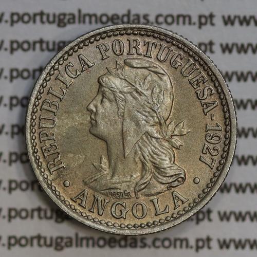 """Angola 2 Macutas 1927 em alpaca, """"10 centavos 1927 Angola"""" (Bela) - Ex- Colónia Angola - World Coins Angola KM 67"""