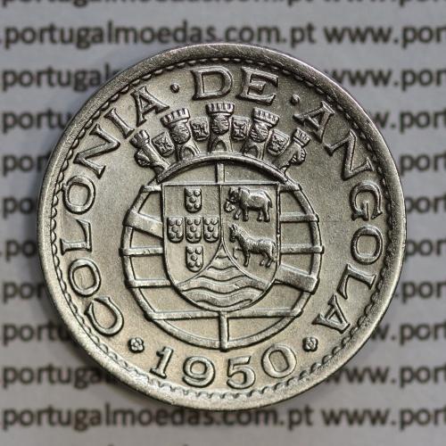 "Angola 50 Centavos 1950 Alpaca, (""$50"" cinquenta centavos 1950 Angola), (Bela/Sob), Ex-Colónia Angola, World Coins Angola KM 72"