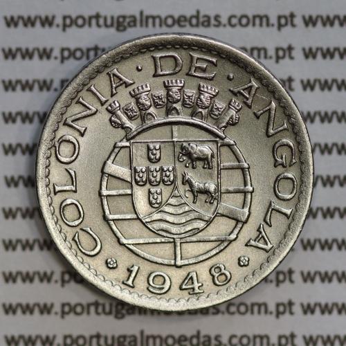 "Angola 50 Centavos 1948 Alpaca, (""$50"" cinquenta centavos 1948 Angola), (Bela), Ex-Colónia Angola, World Coins Angola KM 72"