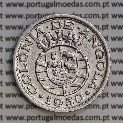 "Angola 50 Centavos 1950 Alpaca, (""$50"" cinquenta centavos 1950 Angola), (MBC+/Bela), Ex-Colónia Angola, World Coins Angola KM 72"