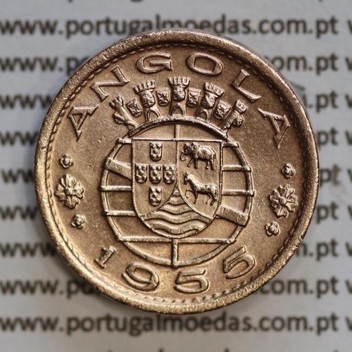 """Angola 50 Centavos 1955 Bronze, (""""$50"""" cinquenta centavos 1955 Angola), (Bela+), Ex-Colónia Angola, World Coins Angola KM 75"""