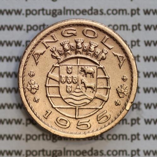 "Angola 50 Centavos 1955 Bronze, (""$50"" cinquenta centavos 1955 Angola), (MBC+), Ex-Colónia Angola, World Coins Angola KM 75"