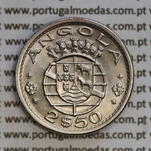 Angola 2$50 1968 cuproníquel, (2 escudos e 50 centavos 1968), (Soberba) 2 1/2 Escudos 1968 Nickel  World Coins Angola KM 77