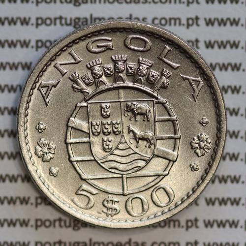 Angola 5$00 1972 cuproníquel, (5 escudos Cupro-Níquel1972), (Bela/Soberba) 5 Escudos copper-nickel 1972 World Coins Angola KM 81