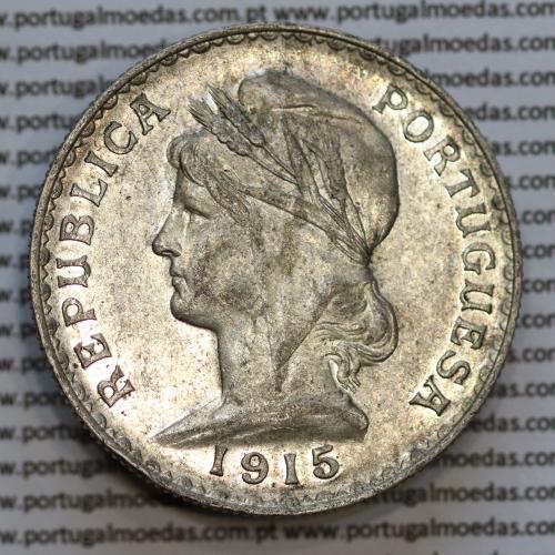 1 Escudo 1915 prata, (1$00 escudo prata 1915), (MBC+/Bela), 1 Escudo Silver 1915 World Coins Portugal  KM 564