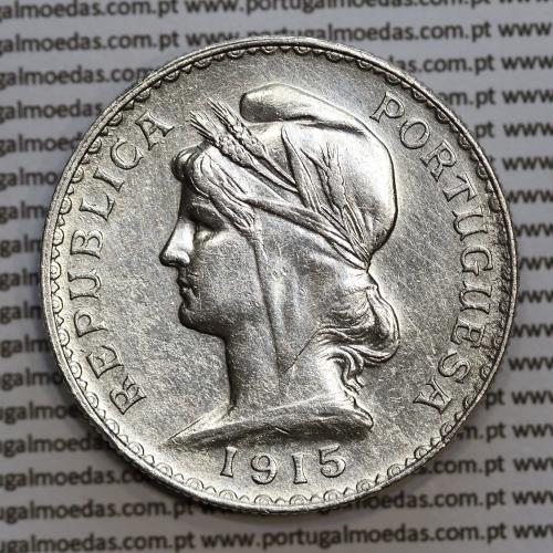 1 Escudo 1915 prata, (1$00 escudo prata 1915), (MBC), 1 Escudo Silver 1915 World Coins Portugal  KM 564