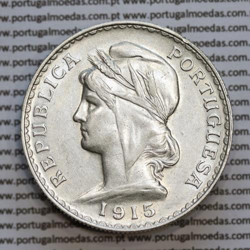 1 Escudo 1915 prata, (1$00 escudo prata 1915), (MBC+), 1 Escudo Silver 1915 World Coins Portugal  KM 564
