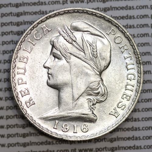 1 Escudo 1916 prata, (1$00 escudo prata 1916), (Bela), 1 Escudo Silver 1916 World Coins Portugal  KM 564
