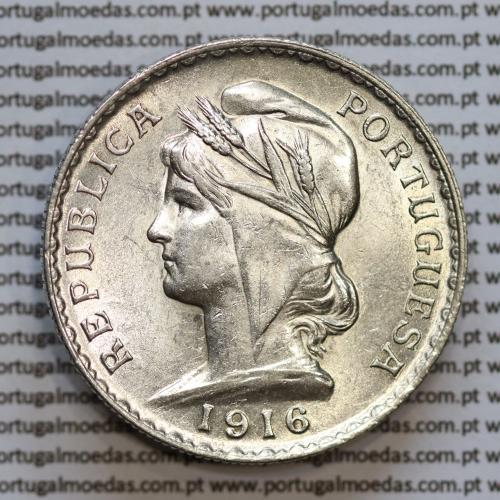 1 Escudo 1916 prata, (1$00 escudo prata 1916), (Bela/Soberba), 1 Escudo Silver 1916 World Coins Portugal  KM 564