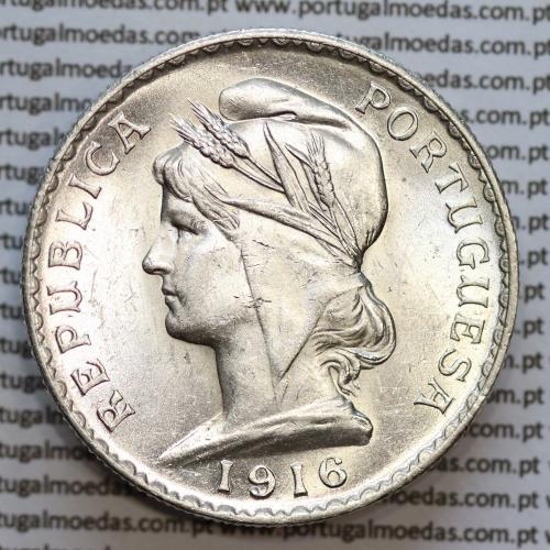 1 Escudo 1916 prata, (1$00 escudo prata 1916), (Soberba), 1 Escudo Silver 1916 World Coins Portugal  KM 564