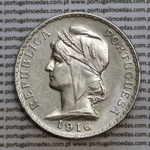 1 Escudo 1916 prata, (1$00 escudo prata 1916), (MBC+/Bela), 1 Escudo Silver 1916 World Coins Portugal  KM 564