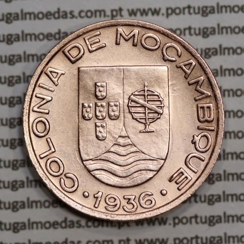 """Moçambique, 20 centavos 1936 Cobre, (""""$20"""" centavos cobre 1936), (Bela) Ex-Colónia Moçambique, World Coins Mozambique KM 64"""