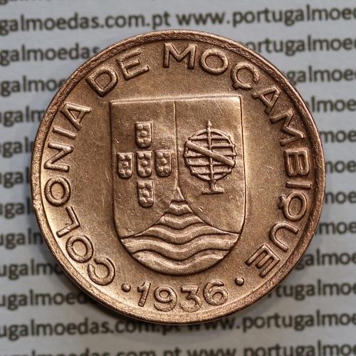 """Moçambique, 20 centavos 1936 Cobre, (""""$20"""" centavos cobre 1936), (MBC+/Bela) Ex-Colónia Moçambique, World Coins Mozambique KM 64"""