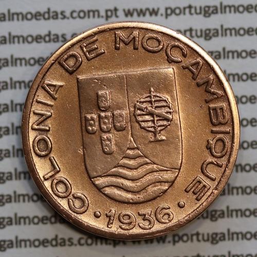 "Moçambique, 20 centavos 1936 Cobre, (""$20"" centavos cobre 1936), (MBC+) Ex-Colónia Moçambique, World Coins Mozambique KM 64"