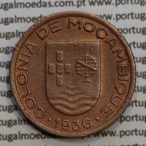 "Moçambique,10 centavos 1936 Cobre, (""$10"" centavos cobre 1936), (MBC+) Ex-Colónia Moçambique, World Coins Mozambique KM63"