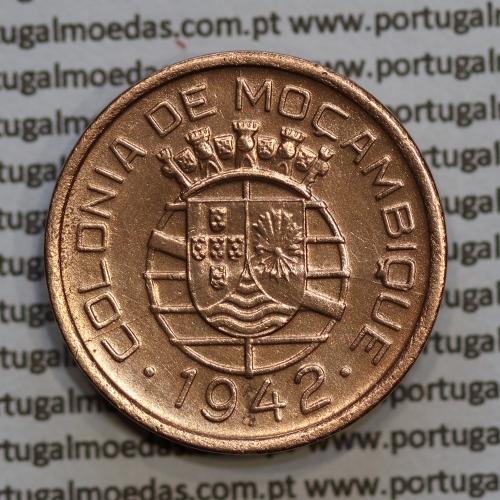 """Moçambique 10 centavos 1942 cobre, """"$10"""" centavos cobre 1942, (MBC+/Bela) Ex-Colónia Moçambique, World Coins Mozambique KM 72"""