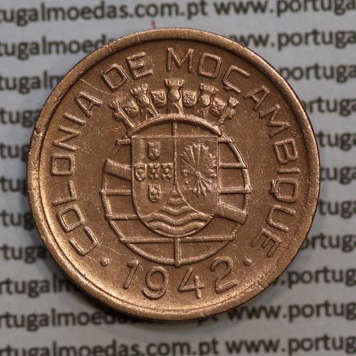 "Moçambique 10 centavos 1942 cobre, ""$10"" centavos cobre 1942, (MBC+) Ex-Colónia Moçambique, World Coins Mozambique KM 72"