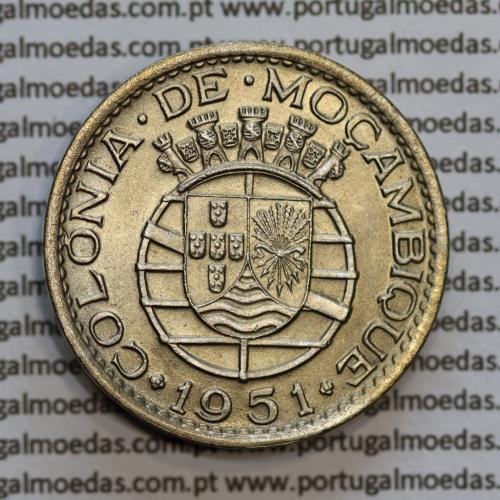 """Moçambique 1 Escudo 1951 alpaca, """"1$00"""" escudo alpaca 1951, (Bela/Soberba) Ex-Colónia Moçambique, World Coins Mozambique KM 77"""