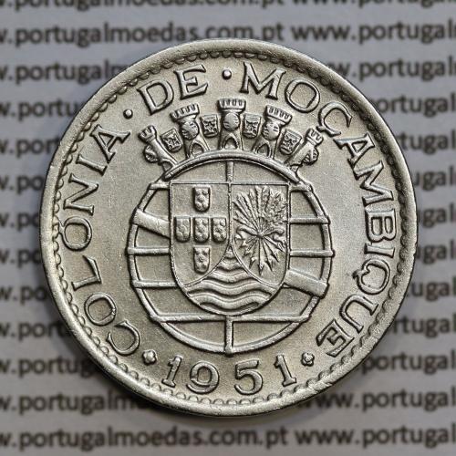 """Moçambique 1 Escudo 1951 alpaca, """"1$00"""" escudo alpaca 1951, (MBC+/Bela) Ex-Colónia Moçambique, World Coins Mozambique KM 77"""