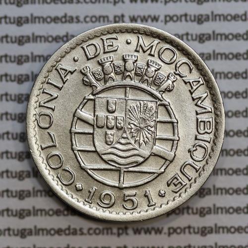 """Moçambique 1 Escudo 1951 alpaca, """"1$00"""" escudo alpaca 1951, (MBC+) Ex-Colónia Moçambique, World Coins Mozambique KM 77"""