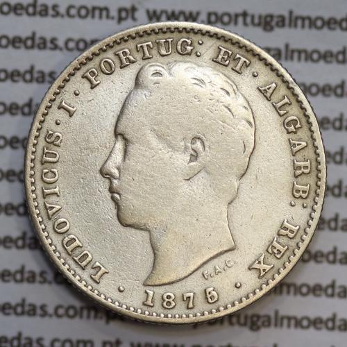 200 réis 1875 prata D. Luis I, data emendada 5/4, aproveitamento do cunho ano 1874 para cunhar ano 1875, dois tostões prata 1875