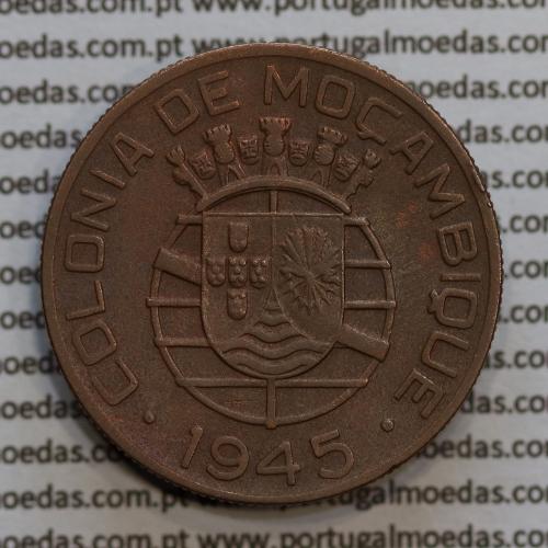 Moçambique 1 Escudo 1945 bronze, 1$00 escudo bronze 1945, (MBC+) Ex-Colónia Moçambique, World Coins Mozambique KM 74