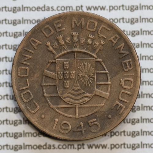 Moçambique 1 Escudo 1945 bronze, 1$00 escudo bronze 1945, (MBC+/Bela) Ex-Colónia Moçambique, World Coins Mozambique KM 74