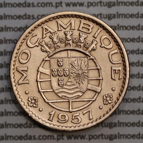 Moçambique 1 escudo 1957 bronze, 1$00 escudo bronze 1957 Moçambique, (Bela), Ex-Colónia Portuguesa, World Coins Mozambique KM82