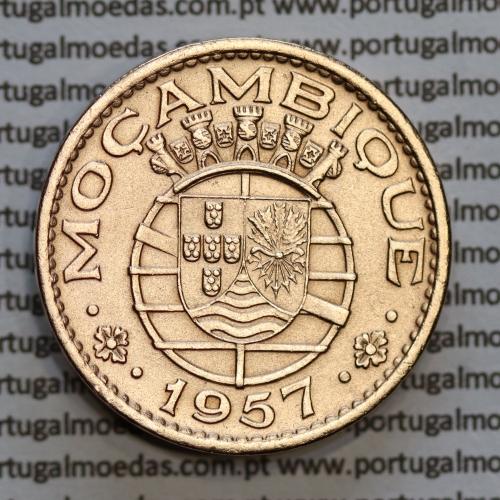 Moçambique 1 escudo 1957 bronze, 1$00 escudo bronze 1957 Moçambique, (MBC+), Ex-Colónia Portuguesa, World Coins Mozambique KM82