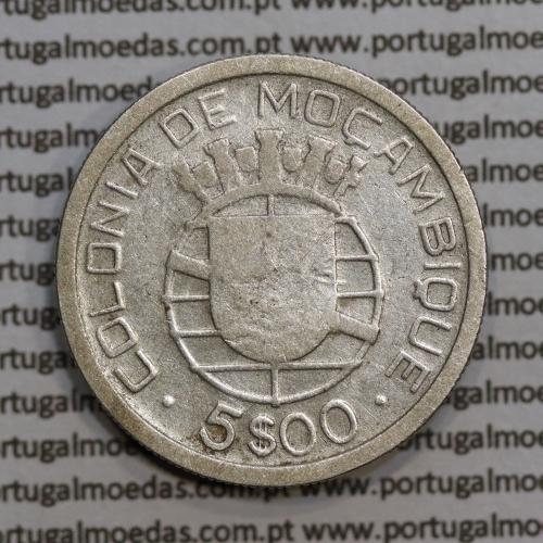 Moçambique 5$00 1938 Prata, (cinco escudos em prata de 1938), (BC), World Coins Mozambique KM 69