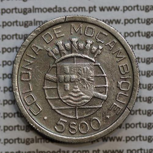 Moçambique 5$00 1938 Prata, (cinco escudos em prata de 1938), (MBC), World Coins Mozambique KM 69