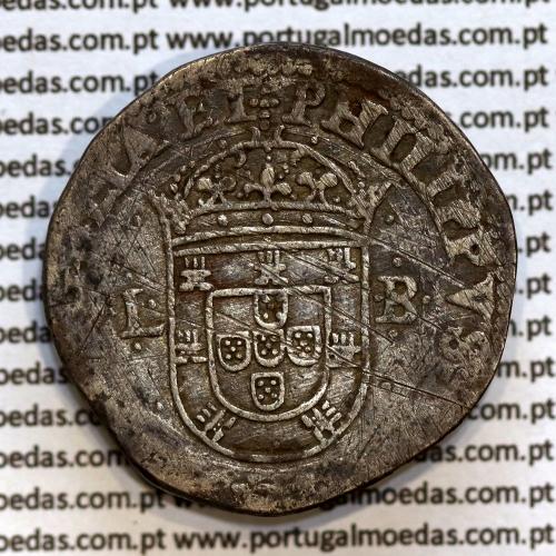Tostão Prata de D. Filipe II 1598-1621, não Catalogada, Legenda:✣PHILIPPVS.D.G.REX.PORTVGALIAE.ET / ✣IN.HOC SIGNO.VINCES