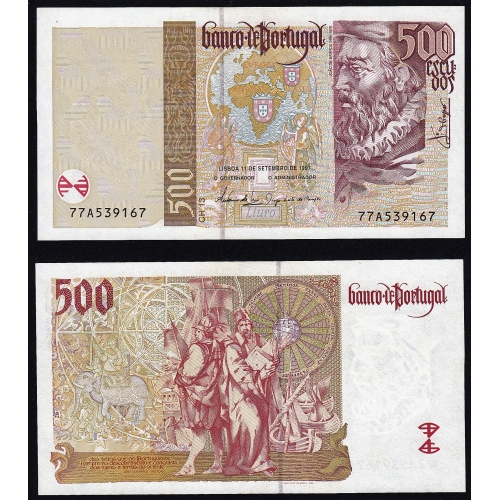 Nota de 500 Escudos 1997 João de Barros, 500$00 11/09/1997 Chapa: 13 - Banco de Portugal (Pouco Circulada)