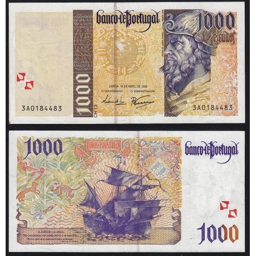 Nota de 1000 Escudos 1996 Pedro Alvares Cabral, 1000$00 18/04/1996 Chapa: 13 - Banco de Portugal (Pouco Circulada)